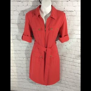 Coral Sharagano Shirt Dress with belt EUC City 6